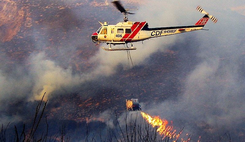 This flame throwing helicopter is used to fight a wildfire by starting another one… You get it?