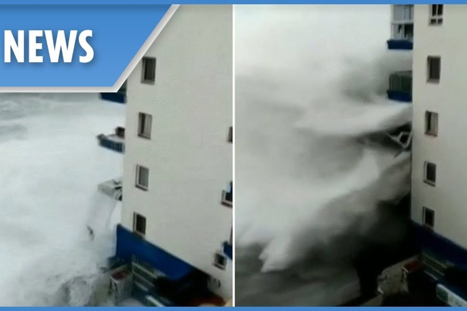 Terrifying videos show gigantic waves engulfing buildings and streets in Tenerife