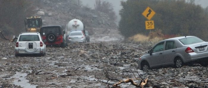 Powerful Pacific Storm Impacting California Causing Mudslides after Fires