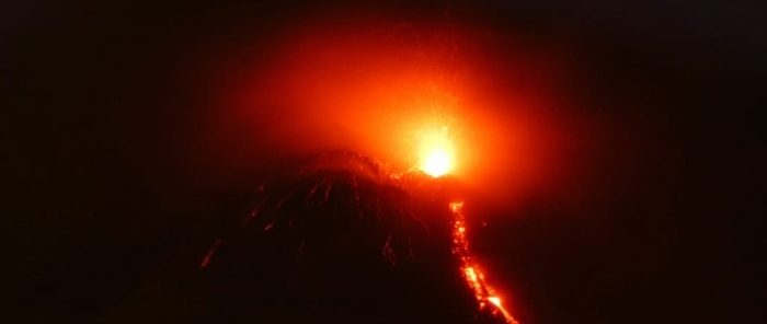 Strombolian activity and lava flow observed at Mount Etna, Italy