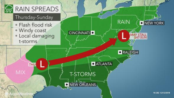 Flooding Rain and Severe Storms to aim for Southeastern U.S. by this weekend