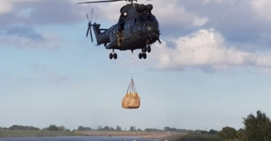 Royal Air Force called in to stop the flooding in Lincolnshire UK