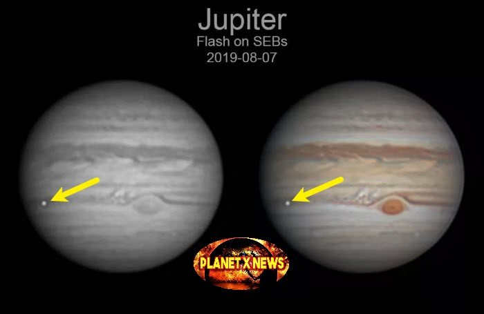 Large Meteor Strikes Jupiter on August 7th, 2019 Seen from Earth