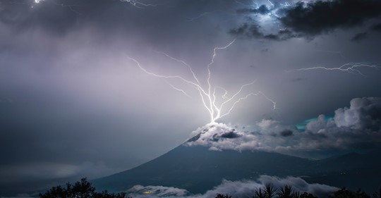 Stunning photo shows lightning bolt striking an erupting volcano in Guatemala